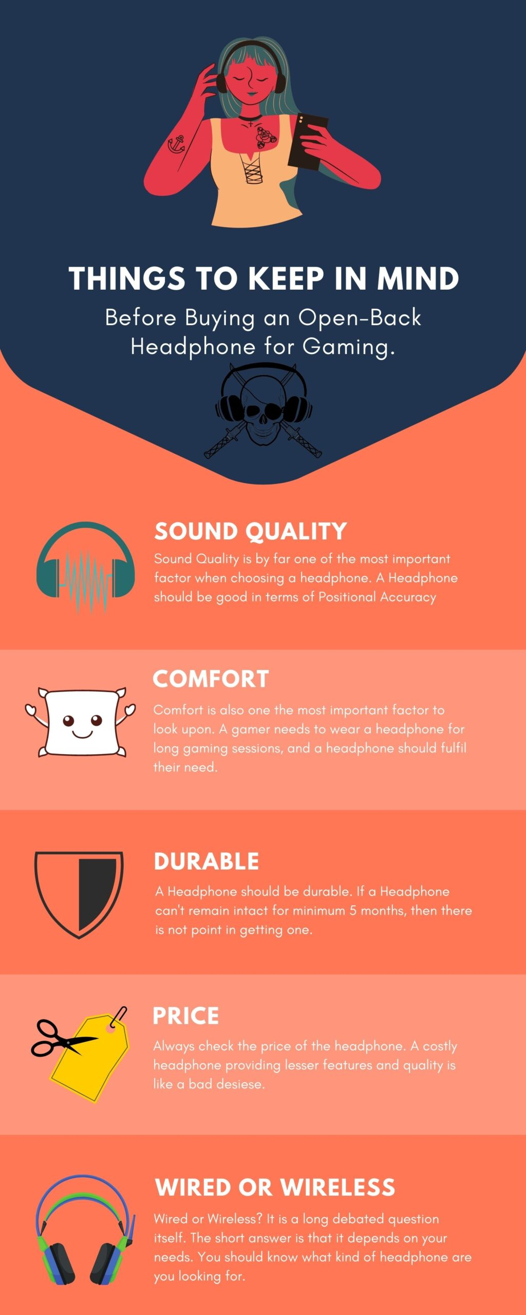 Infographic showing Things to keep in Mind Before Choosing an Open-Back Headphones for Gaming.