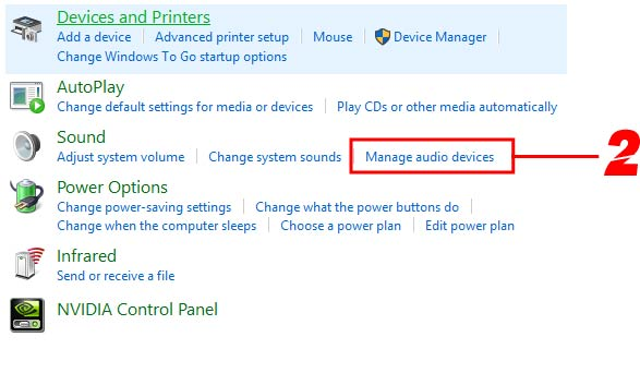 Step 2, Click on Manage Audio Devices