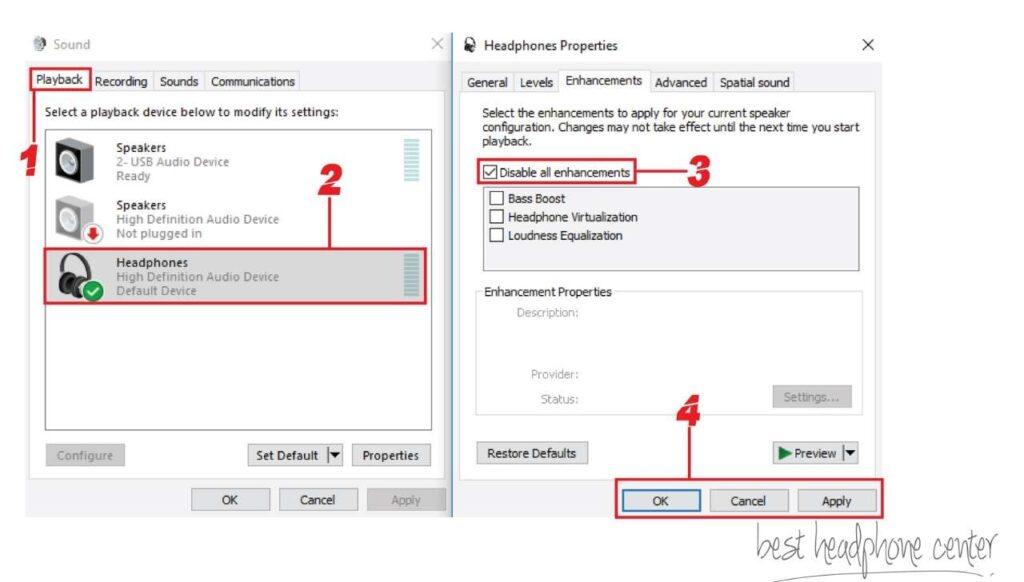 Screenshot of Headphone's Properties in Windows 10; Disable Audio Enhancements