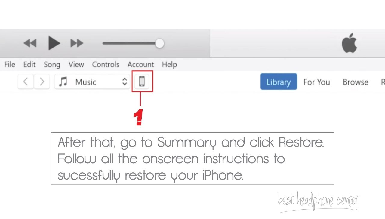 A Screenshot of iTunes, while the iPhone is connected to the PC